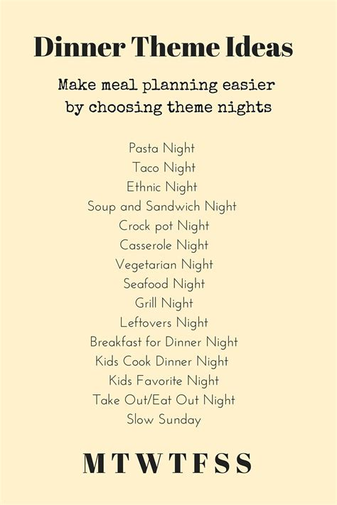Theme Dinner Names | dinner theme ideas make dinner planning easier and more