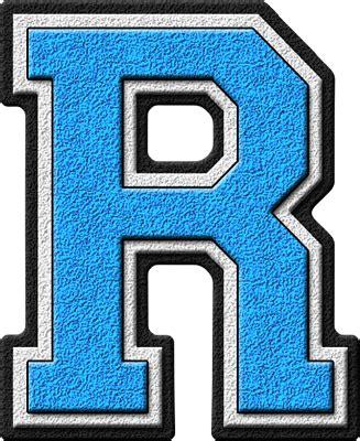 presentation alphabets light blue varsity letter r