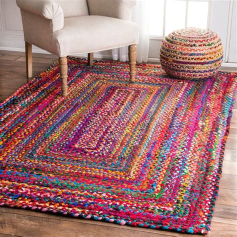 How To Make Handmade Carpets - nuloom casual handmade braided cotton multi rug 5 x 8