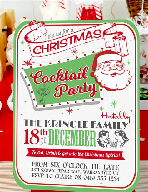 retro christmas cocktail party invitation
