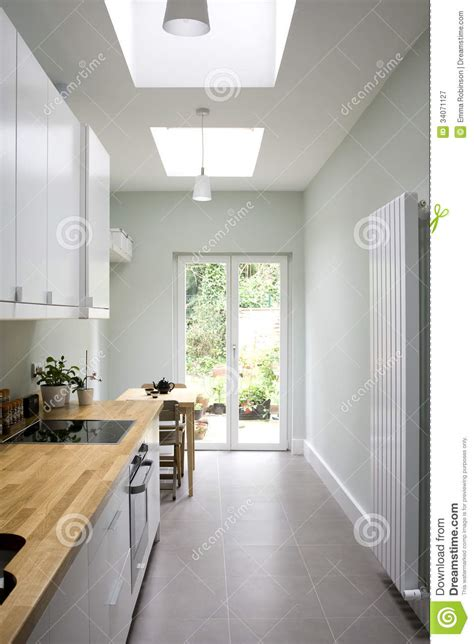 doors with skylights modern bright kitchen galley style stock image image