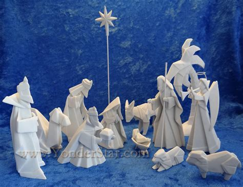 Porcelain Origami Nativity Set - porcelain origami nativity 14 pcs yonder
