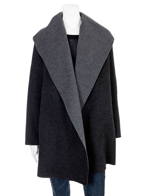 vince drape hooded coat vince draped wool hooded coat in gray charcoal lyst