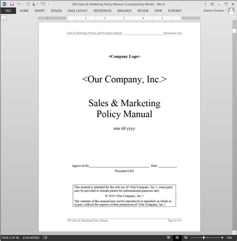 Sales Marketing Policy Manual Abr44mpm Marketing Procedures Template