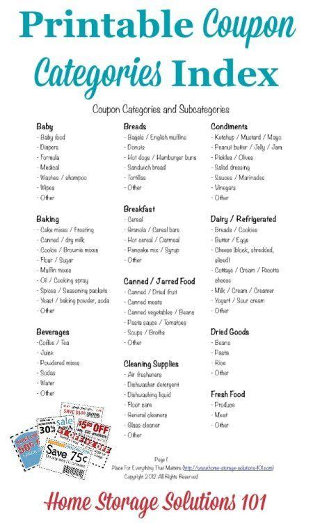 printable coupon organizer coupon categories and subcategories for organizing coupons