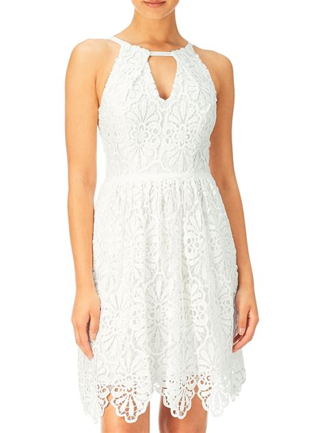 Halter Sleeveless Lace Dress papell sleeveless fit and flare lace cocktail