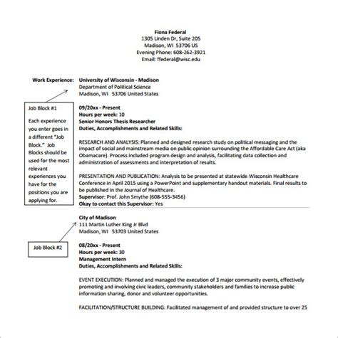 Federal Resume by Federal Resume Template 8 Free Word Excel Pdf Format