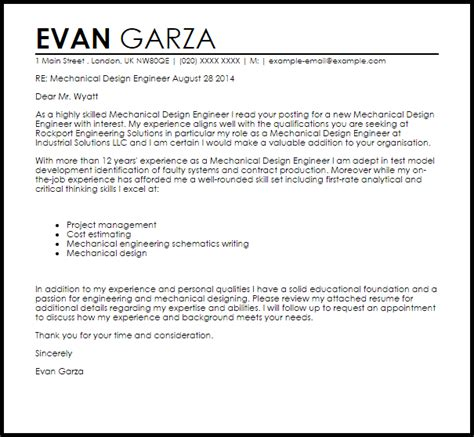 Cover Letter Resume Mechanical Engineer Mechanical Design Engineer Cover Letter Sle Livecareer