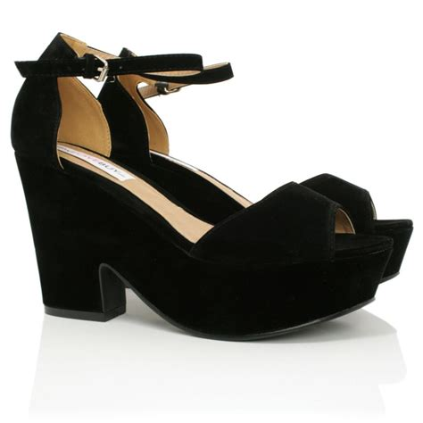 sandal wedges for new womens demi wedge heel peep toe ankle sandal