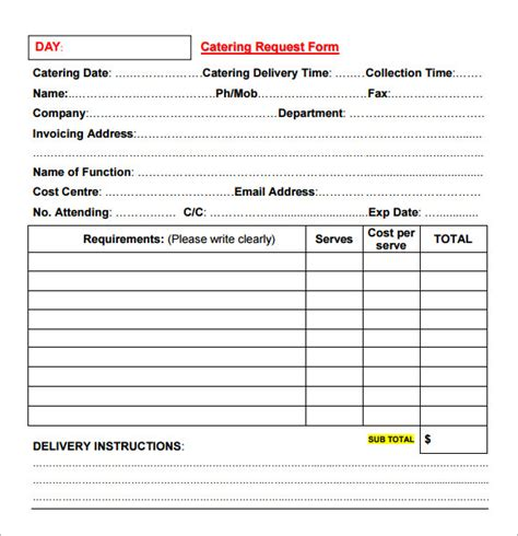 Free Catering Template catering invoice sle 16 documents in pdf