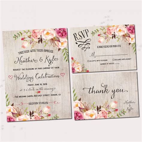 flower design wedding invitation rustic wedding invitations printable wedding invitation