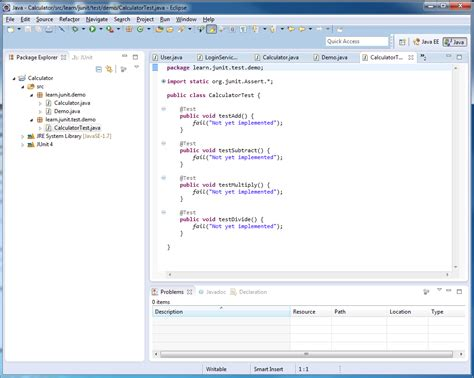 simple exle for using junit with eclipse to test java