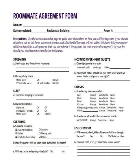 roommate agreement changes for roommate agreement