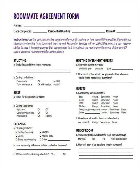 roommate agreement form 8 roommate agreement form sles free sle exle