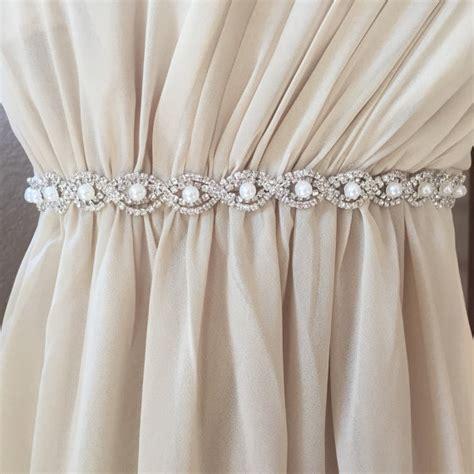 thin silver and pearl rhinestone belt bridal belt or