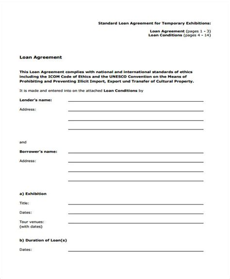 Staff Loan Agreement Letter Loan Agreement Form Template
