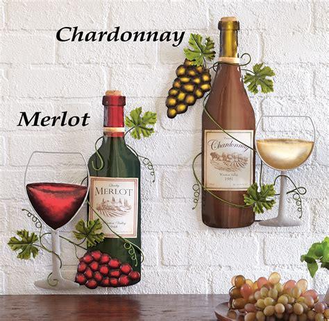 wine bottle kitchen decor wine bottle metal wall kitchen vino bar lounge merlot or chardonnay ebay