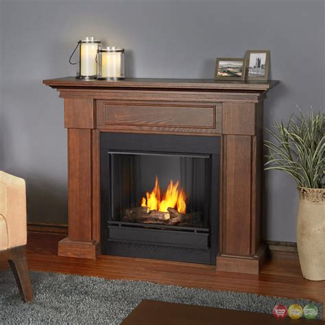 ventless fireplace logs hillcrest ventless gel fuel fireplace in chestnut oak with