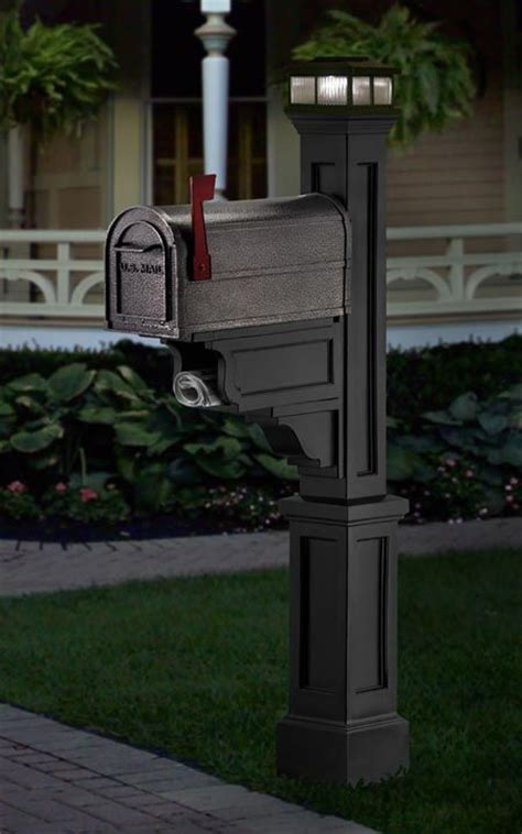 black mailpost with solar light mailbox post
