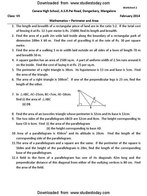 CBSE Class 7 Maths Worksheet - Perimeter and Area (1