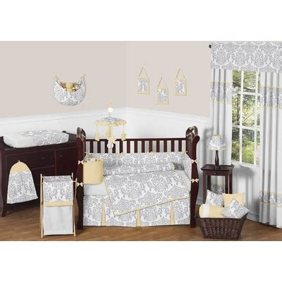 Crib Bedding Yellow And Gray Avery Yellow And Gray Crib Bedding Collection