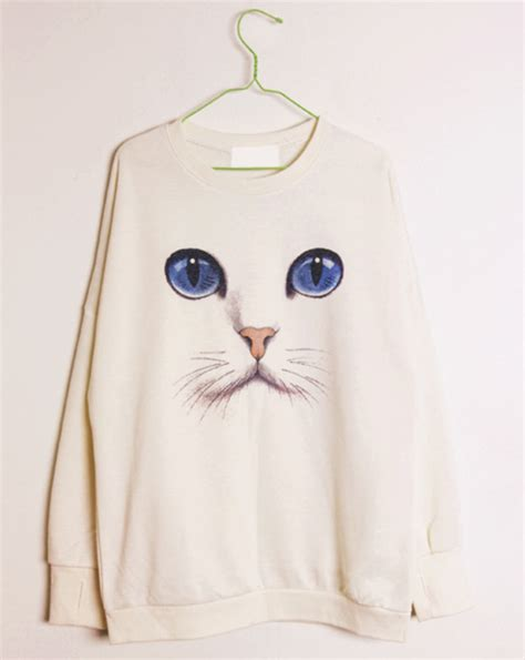 harry styles tattoo jumper topshop new women casual loose cat face printed trendy long