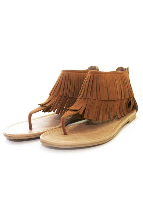city classified fringe flat sandals from miami by