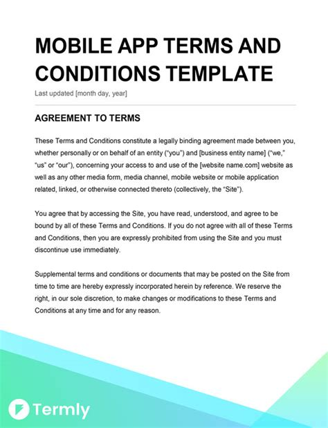 app terms and conditions template mobile app terms conditions template writing guide
