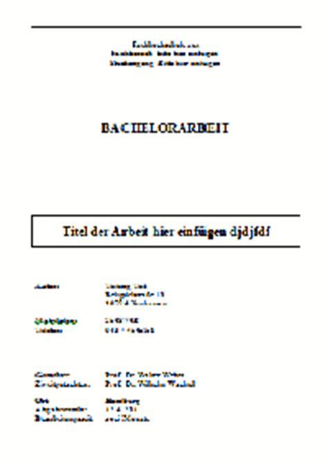 Vorlage Word Hausarbeit Jura Gestaltung Und Inhalt Des Deckblattes Einer Bachelorarbeit