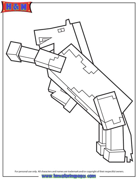 minecraft unicorn coloring pages