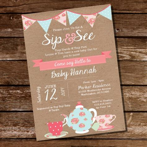 Shabby Chic Sip And See Invitation Meet The Baby Invitation Meet The Baby Invitation Templates