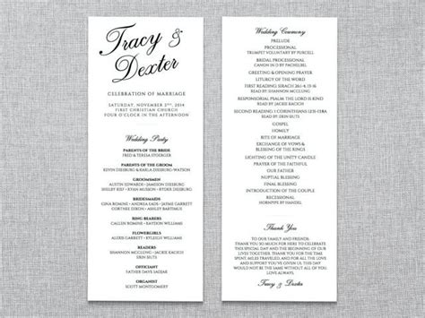 scripted elegance double sided wedding ceremony program