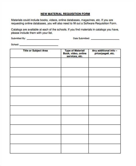 12 material requisition form sle free sle