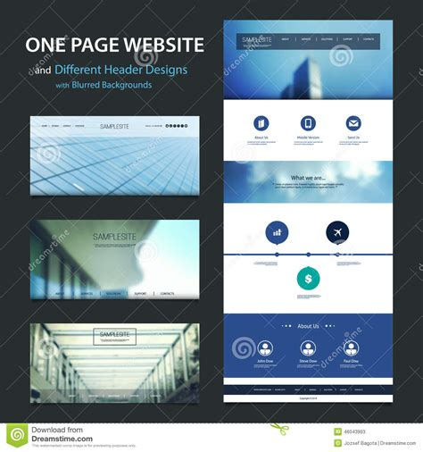 page header template one page website template and different header designs