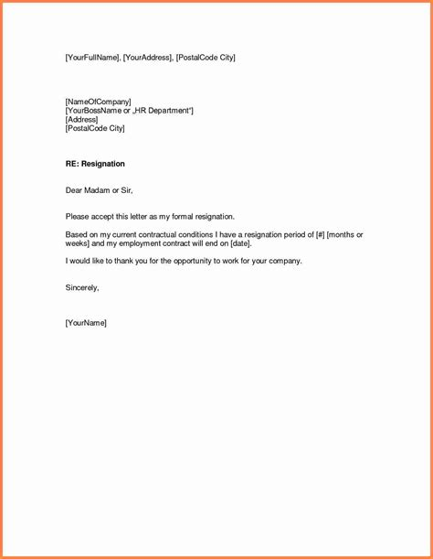 5 simple resignation letter sle 1 week notice notice letter