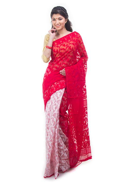 Home Decor Showpieces red white half half dhakai jamdani muslin saree from