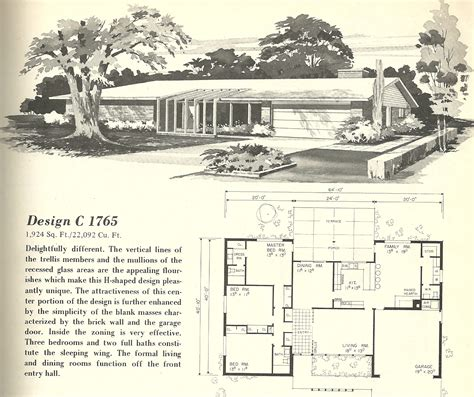 Mid Century Floor Plans by Vintage House Plans 1765 Antique Alter Ego