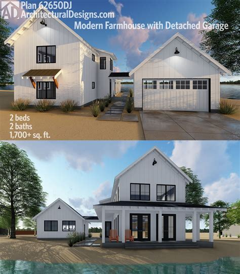 farmhouse architectural plans plan 62650dj modern farmhouse plan with 2 beds and semi