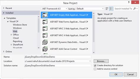 format js file in visual studio jquery fill dropdown and show records in gridview format