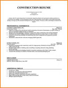 Construction Worker Resume Exles And Sles by 8 Construction Worker Resume Billing Clerk Resume