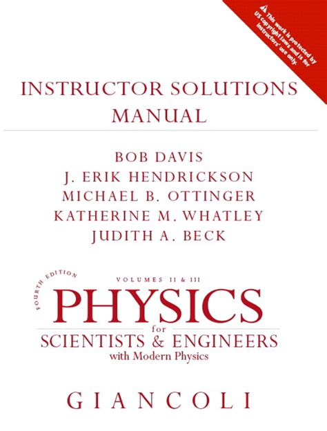 physics for scientists engineers vol 1 chs 1 20 4th edition ebook giancoli instructor solutions manual for physics for
