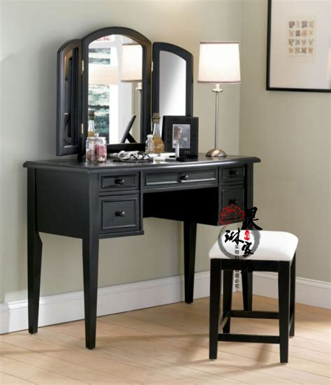 Unfinished Makeup Vanity Table American Style Solid Wood Vanity Retro Folding Vanity Mirror Makeup Table Black And White