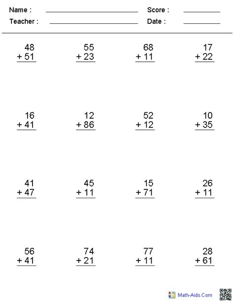 adding with regrouping worksheets addition worksheets dynamically created addition worksheets