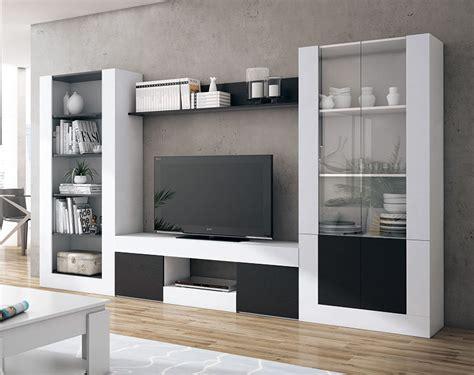 mueble de salon en color blanco  negro de  centimetros