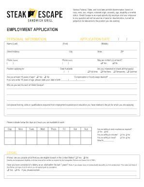 printable job application for steak and shake steak escape job application print out form fill online