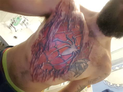 spiderman chest tattoo chest elaxsir