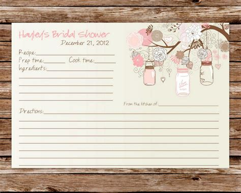 wedding shower recipe card template custom printable rustic vintage jars bridal shower