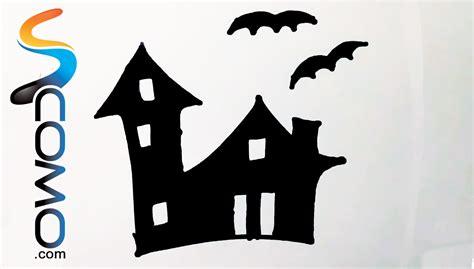 imagenes en negro de halloween dibujo de la silueta de una casa encantada drawing