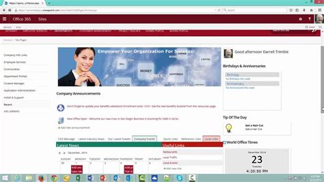 sharepoint office 365 intranet template youtube