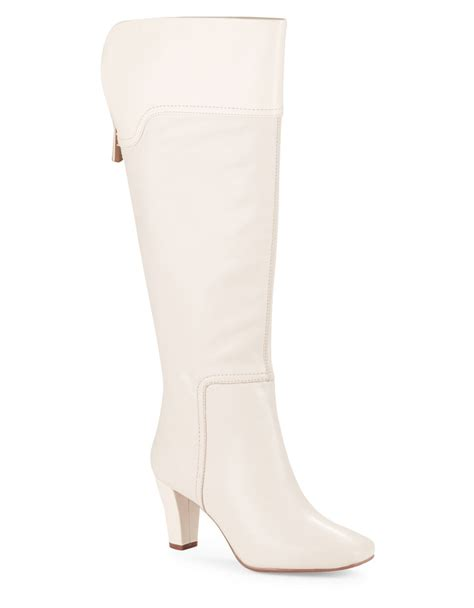 white knee high boots bandolino viet leather knee high boots in white lyst